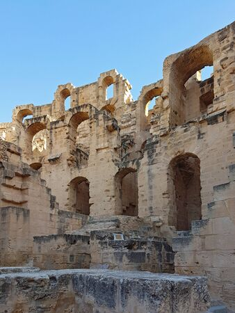 Inside of in the ancient African colosseum of El Djem in Tunisia Foto de archivo - 130723025
