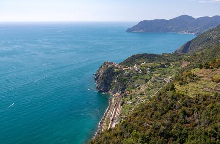 Corniglia of the coastal area Cinque Terre in the Italian province La Spezia
