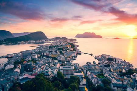 alesund: Top view of the city of Alesund at sunset . Norway