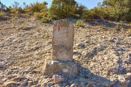 Ancient grave in Sant Geroni height more than a kilometer, mountain Catalonia, near the Monastery of Monseratt