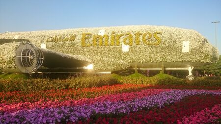 huge plane stands at flower show in united arab emirates