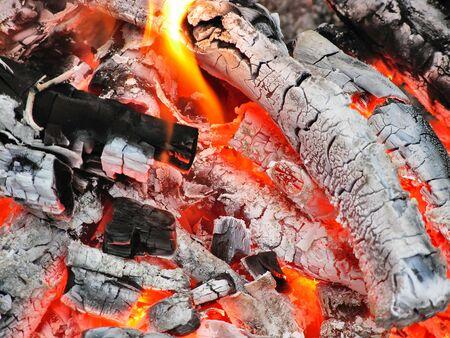 torrid: Macro coals dying fire for cooking shish Stock Photo