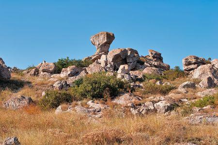 azov sea: The cliffs at Cape Kazantip in the Azov Sea in the Crimea