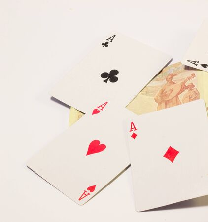 strongest: combination of aces is the strongest card, and can be compared to people with cards, a strong and confident person later becomes an ace Stock Photo