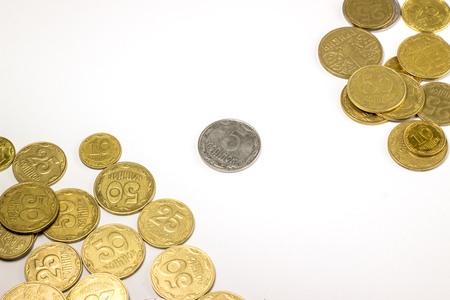 Ukrainian coins, made of metal, solids business concept Stock Photo
