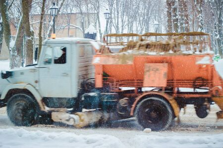 employ: on the streets in winter dropped a lot of snow so employ here are snow machines