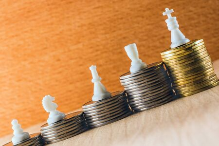 Career ladder in increasing chess figures symbolize the career stage