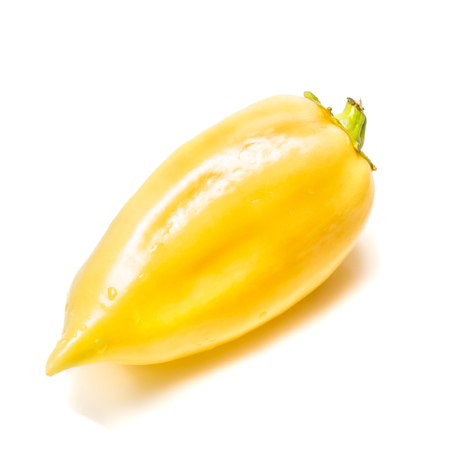 bright yellow pepper with a green tail on a white background
