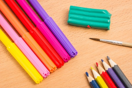 school supplies for creative development education concept objects for drawing