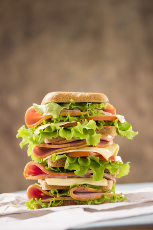 bright appetizing large sandwich with ham cheese and greens shiny and tasty Archivio Fotografico