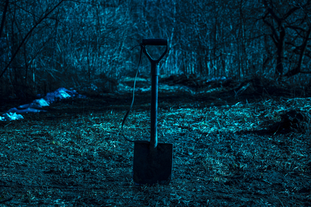 shovel on the blurred background of a night forest mysteriously and scary no one around Banco de Imagens