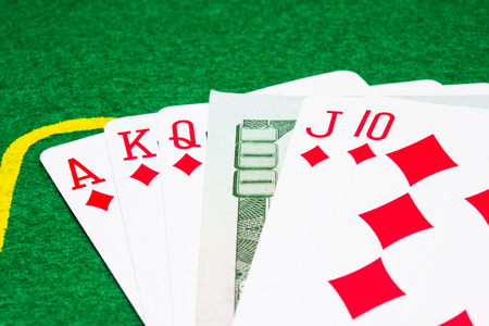 hundred dollar lays between a card combination of the royal flush concept of poker and gambling