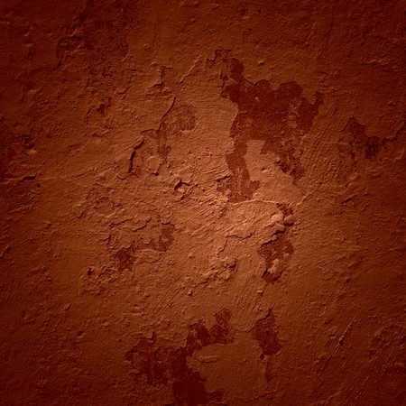 bright brown texture of a concrete wall with peeling plaster and dark edges grunge background for design Stock Photo