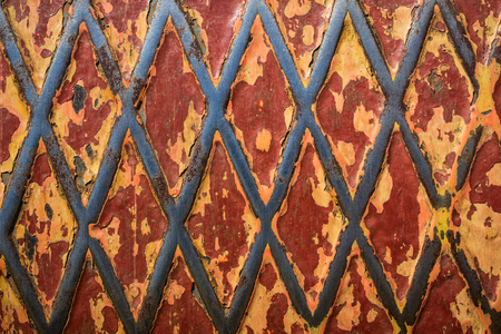 bright metal texture with patterns and flaking paint grunge background for design Stock Photo