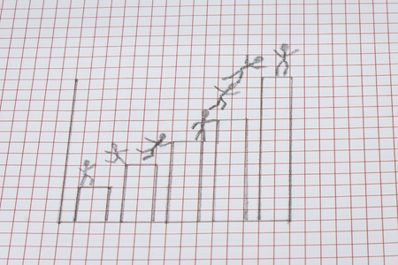 graph depicting a career ladder drawn in pencil shows the desire of people to occupy a position higher the concept of business 版權商用圖片