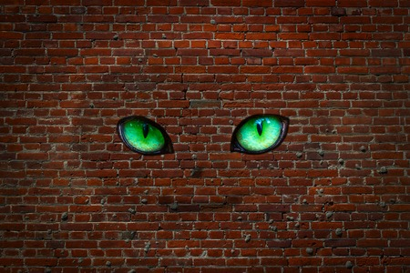smiling ghost with big green eyes against a red brick wall fascinating abstraction