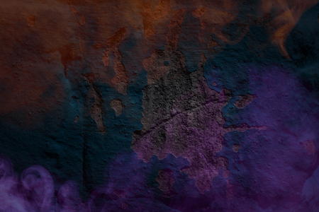 purple and orange clouds of cigarette vapor on the background of a mysterious concrete wall closeup texture for design Stockfoto