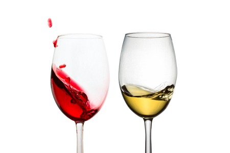 delicious alcoholic drink red and white wine splashing in transparent glasses objects for design