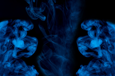 three mystical clouds of blue cigarette vapor thick and transparent exciting patterns concept of smoking objects for design 写真素材