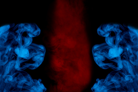 bright red cloud of cigarette vapor between blue exciting patterns smoking concept abstraction for design Stock Photo