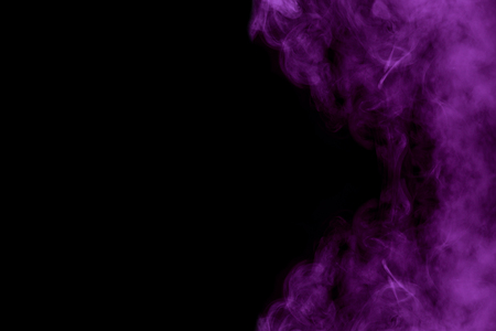 Violet mysterious cloud of cigarette vapor on a dark background Abstraction for design Concept of smoking Stock Photo