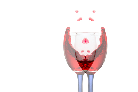 forked glass of red wine with bright splashes similar to a rose flower object for a design concept of alcohol