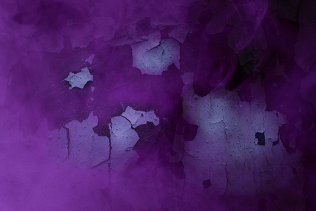 purple mysterious fog covers dark old wall of a building with peeling white paint grunge background for design mysticism concept 스톡 콘텐츠