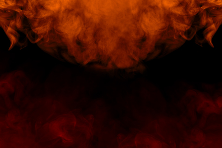red and orange like a flame of a cigarette vapor cloud with bewitching patterns abstraction for design concept of smoking