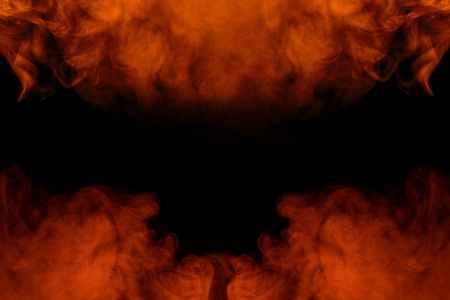 bright fiery abstraction cigarette orange vapor is like a fire close up on a dark background two charming clouds incredible patterns