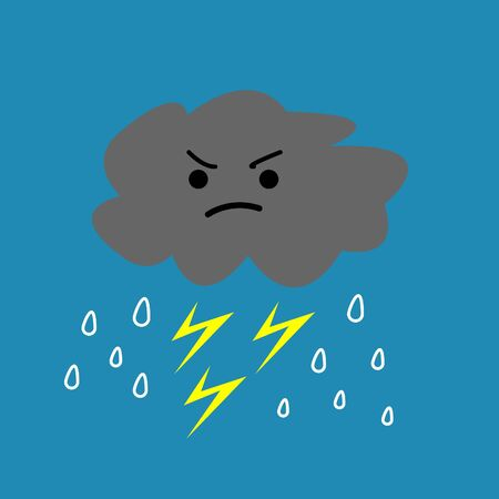 cloud with threatening emotion rain and lightning weather concept