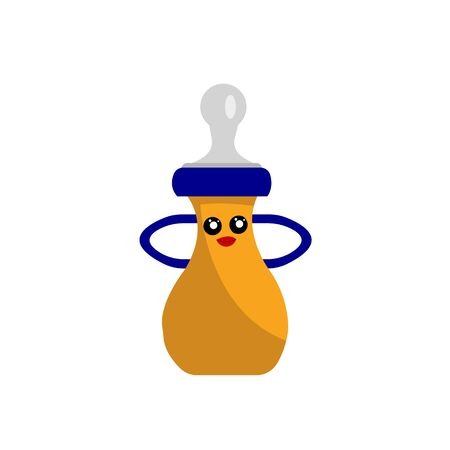 blue-orange baby bottle for feeding cartoon character for design with a cute smile and bright red lips