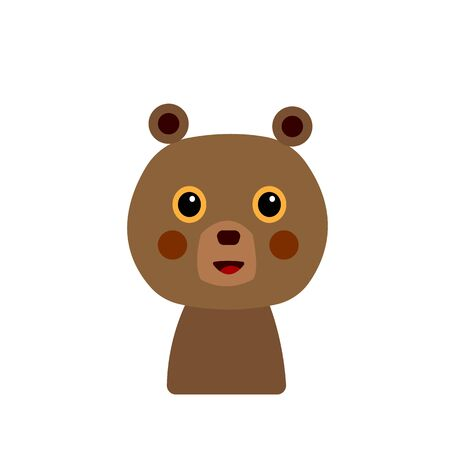 cartoon bear cub forest beast character for design on a white background cute and funny Çizim