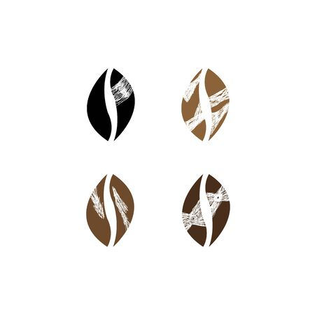 prints of coffee beans with different patterns on a white background concept of an invigorating drink worldwide popular objects for design Çizim