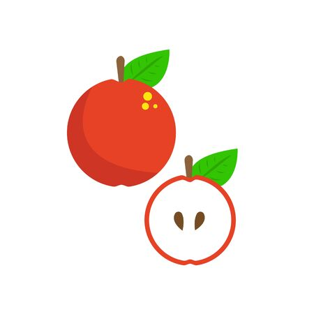 red apple whole and sliced half healthy fruit growing on trees food and vitamins concept Stock Illustratie