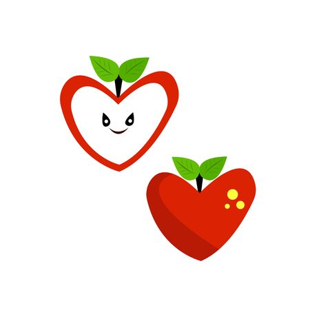 halves apple heart-shaped red ripe fruit with green leaves and a cute smile character for design Stock Illustratie