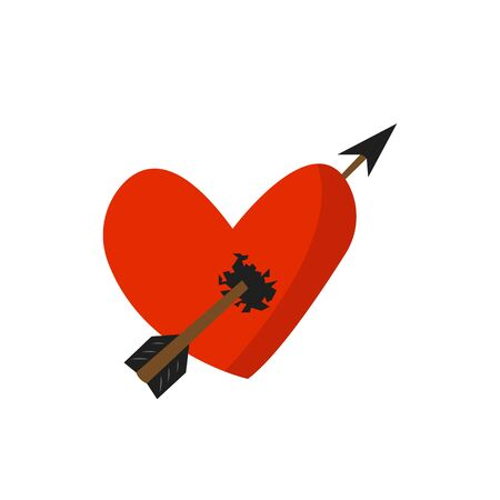 heart broken by a sharp arrow object for design on a white background concept of unsuccessful love Ilustração