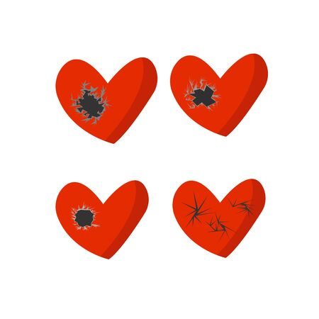 set of broken hearts with holes and cracks objects for design concept of unshared love