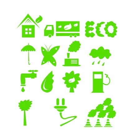 set of green icons for web design industry and ecology concept