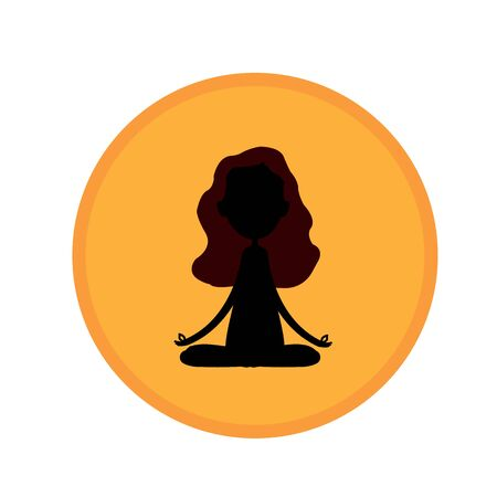 silhouette of meditating girl sitting in lotus position on sunset background. yoga concept exercise to improve health