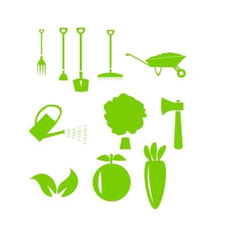 set of tools for gardening and plants on a white background concept of farming and agriculture