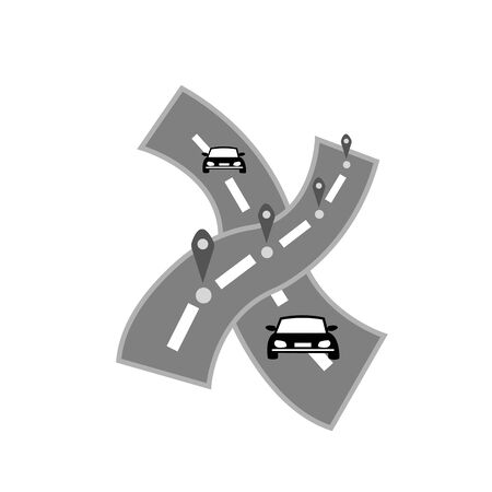 road signs and cars  for design transport and traffic concept Stockfoto - 130540934