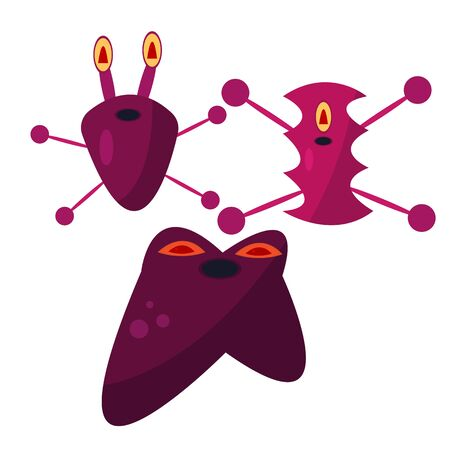 set of purple germs on a white background concept medicine monsters for halloween