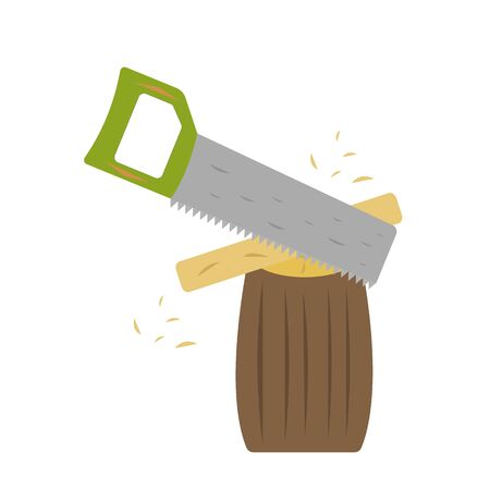 hacksaw is sawing wood lying on a log small chips fly industry and woodworking concept