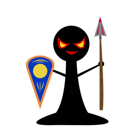 black chess pawn with spear and shield board games concept object for design on a white background