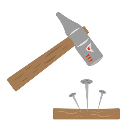 hammer and nails in wood beast muzzle pattern with sharp teeth industry and tool concept