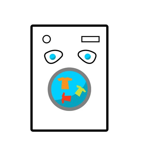 multi-colored clothes rinse in the washing machine appliance and household concept
