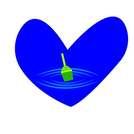 fishing float on the surface of the water around the frame of the heart and traces of small stains