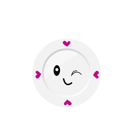 round plate with patterns of hearts cute winks cartoon character for design concept accessories and food