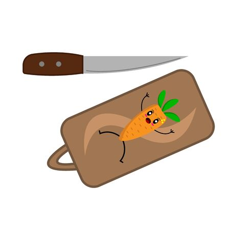 scared carrot lies on a cutting board a sharp knife blade approaching cooking concept funny character for design