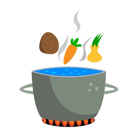 vegetables fall into a pot of boiling water standing on fire a concept of cooking and healthy eating on a white background Illustration